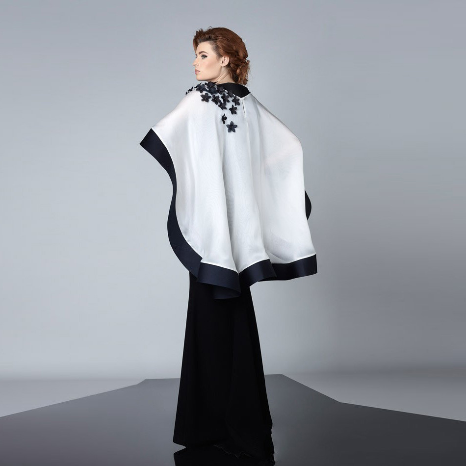 Modest Black Evening Dresses with White Cape dress abayas ...