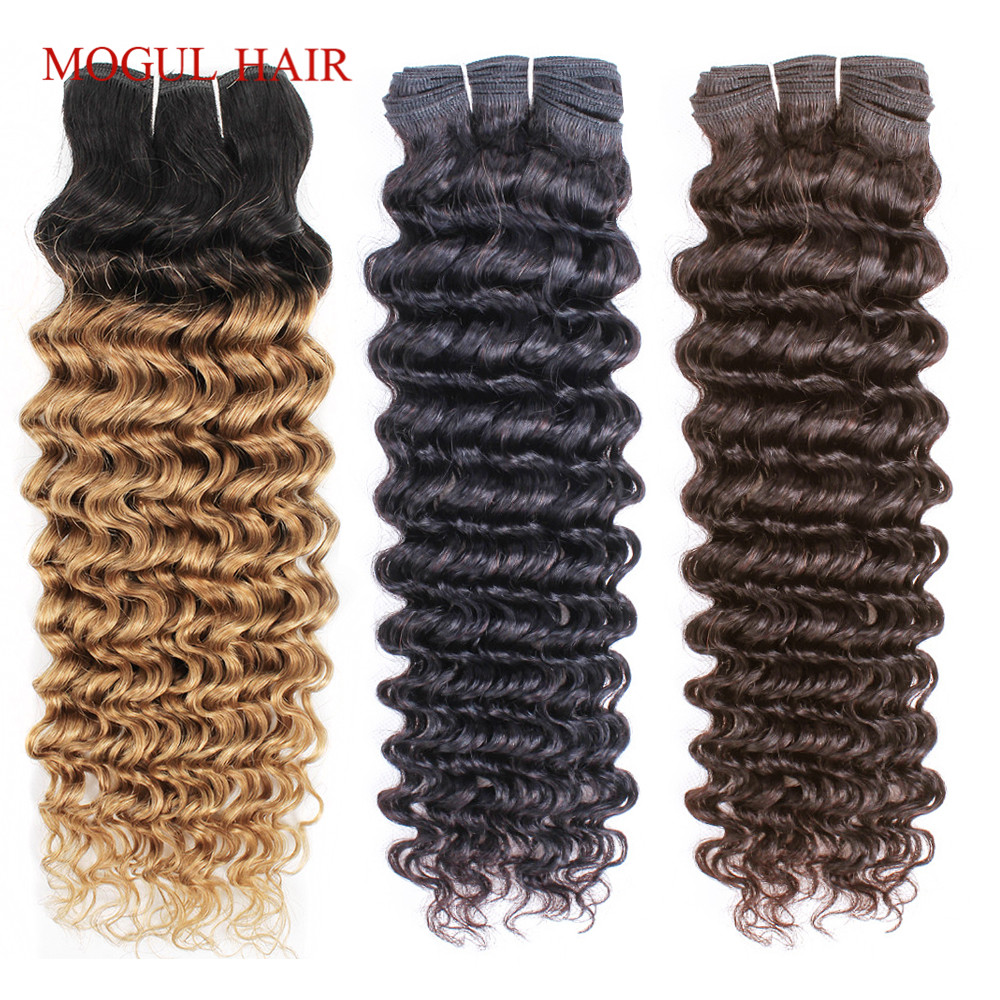 Mogul Hair Brazilian Deep Wave Hair Weave Natural Color 1 Bundle Non-Remy Human Hair Extension Dark Brown Ombre Honey Blonde