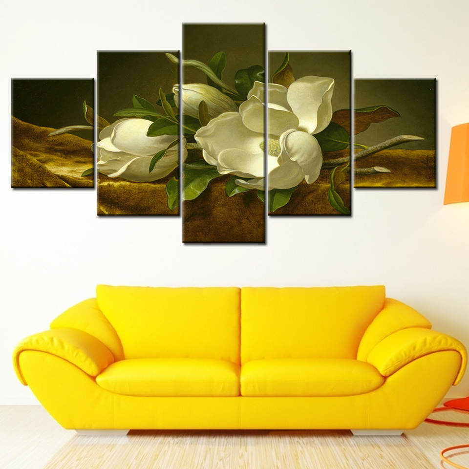 Canvas Painting Magnolia flower on gold velvet 5 Pieces Wall Art Modular Wallpapers Poster Print living room Home Decor