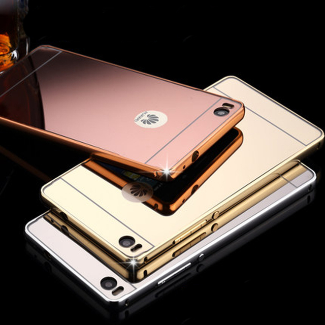 low priced 18851 dd6d1 US $5.13 |Mirror Case For Huawei Ascend P8 5.2 inch Acrylic Back Cover  Phone Cases For Huawei Ascend P8 Lite 5.0 inch Aluminum Frame Capa-in ...
