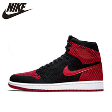official photos 73d41 6ee64 Nike Air Jordan 1 Flyknit AJ1 Men s Breathable Original New Arrival  Official Basketball Shoes Sports Sneakers