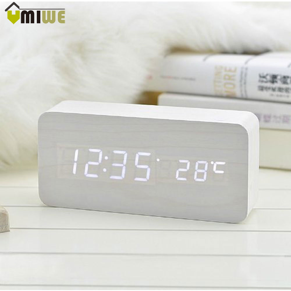 Digital LED Wooden Clock Rectangle Wood Grain Sound Control Activated LED Digital Alarm  ...