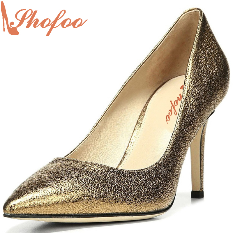 Shofoo Classics Gold Women Pointed Toe High Heels Pumps Woman Dress&Career&Wedding Slip-on Casual Shoes,Large Size 4-16.  shofoo newest women shoes med heels pointed toe pumps for woman dress