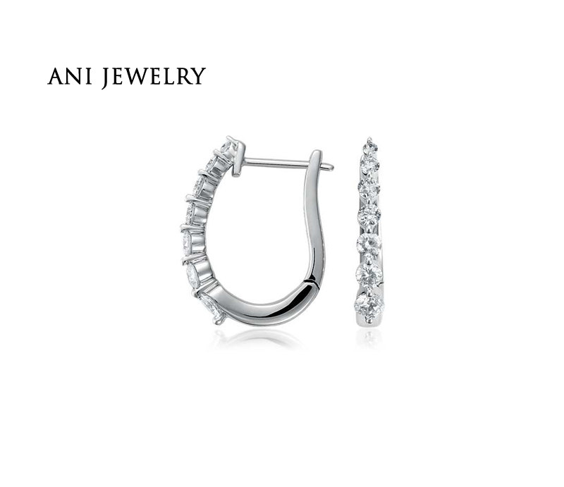 ANI 18k White Gold Women Circle Earrings 0.48 CT Certified I/S1 Real Natural Diamond Trendy Young Lady Party Earrings Small Hoop