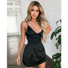 Women Solid Silk Satin Bandage Dress Bodycon Summer Sexy Straps Slim Fit Dresses Lady Club Party Mini Shien Vestidos
