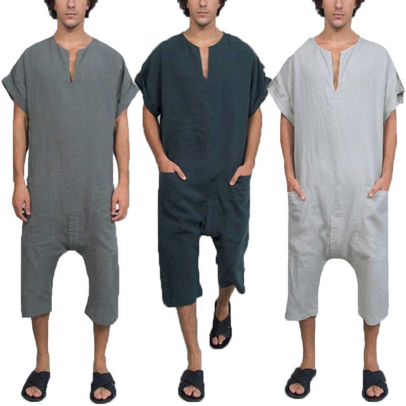 Litthing New Vintage Overalls Men Jumpsuits Rompers Plain V Neck Arab Kaftan Working Pockets Trousers Muslim Islamic Masculina