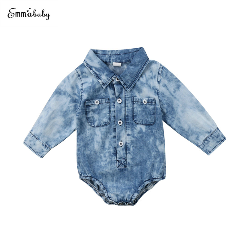 Fashion Newborn Infant Baby Boy Denim Bodysuit Long Sleeve Soft Jean Pocket Toddler Kids Jumpsuit Playsuit Outfits Baby Clothes