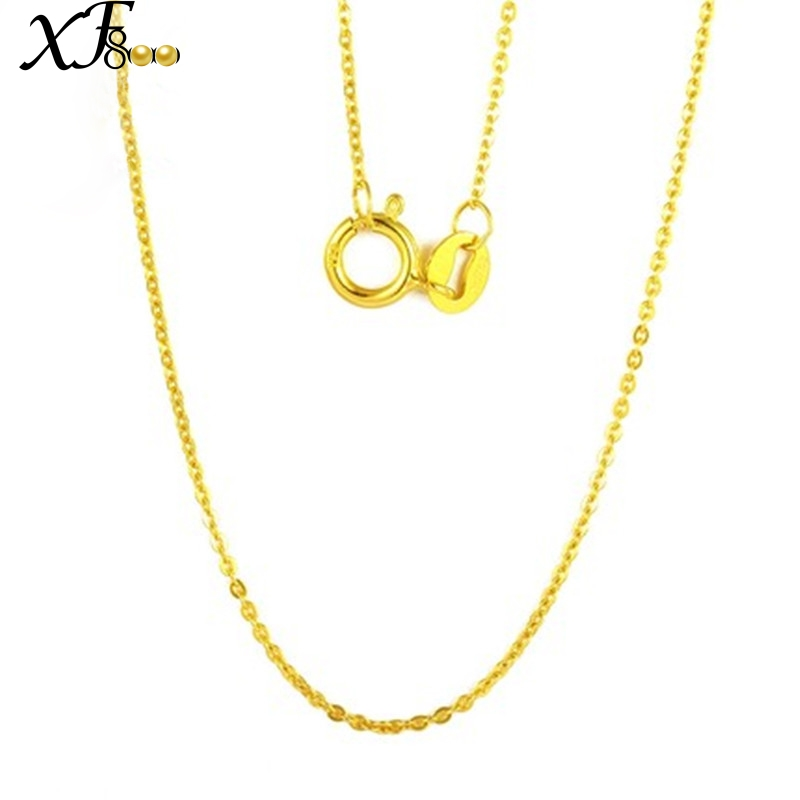 XF800 Genuine 18k Gold Necklace Fine Jewlery Real Au750 White Yellow Gold Chain Wedding Party Gift Romantic For women Girl D206 image