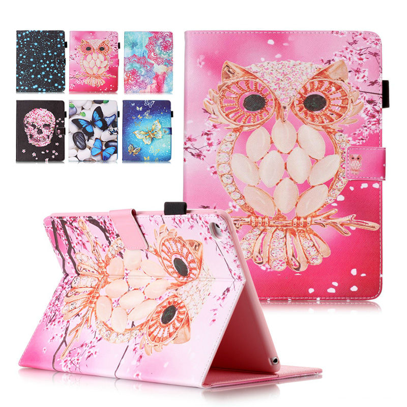 Fashion pattern Smart Flip Cover For Apple iPad Air 2/iPad 6(2014) funda case shell skin with Card Holder+flim+ stylus pen