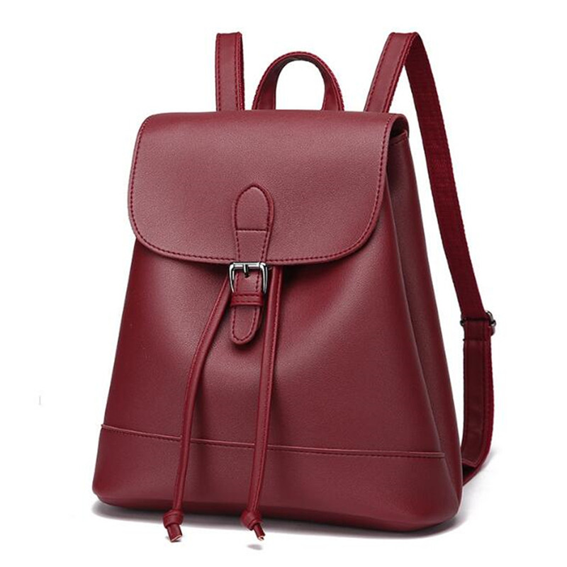 2356d28be AEQUEEN PU Leather Backpack Minimalist Women Rucksack Solid Lady ...