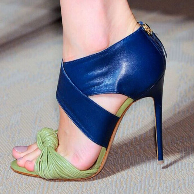b1a1a0f0158 Summer Sexy Stripe Leather Patch Strappy Knot Peep toe Stiletto High-Heeled  Sandals Zip Woman Cover Heels Party Dress Pump Shoes