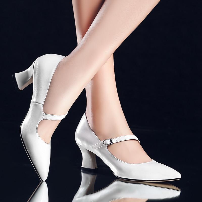 Pointed toe women low heel work shoes girls sweet strappy dress ...