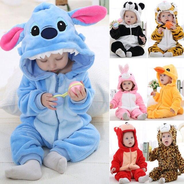 одежда для малышек пижамы кигуруми панда стич тигр для детей девочек  мальчиков животные кенгуруми комбинезон ромперы 4f713e78772f0