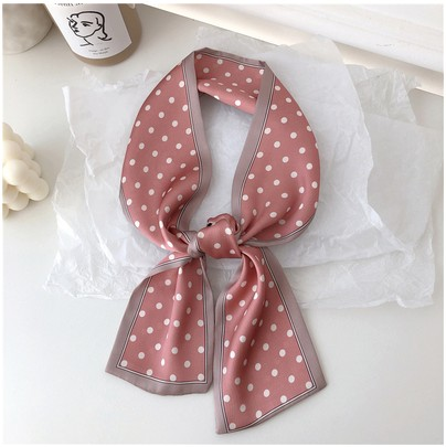 2019 Dot Skinny Scarf Women Cute Hair Tie Band Kerchief Wrist Ribbons Fashion Head Neck Silk Satin Bag Scarfs Long Silk Scarf