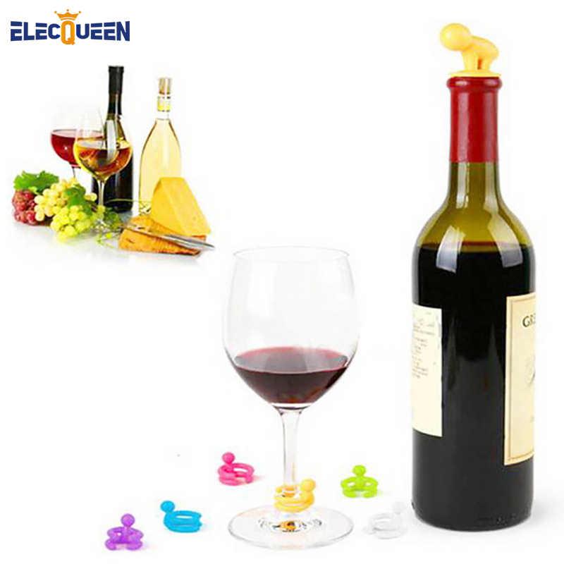 7 pcs set 2018 silicone small drunkard champagne wine bottle stopper with wine glass cup marker. Black Bedroom Furniture Sets. Home Design Ideas