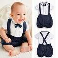 3 unids nacido bebé Kids ropa infantil caballero de los muchachos trajes Bow + Tie + T-shirt + Bib Shorts / pantalones Set 12 - 36 M