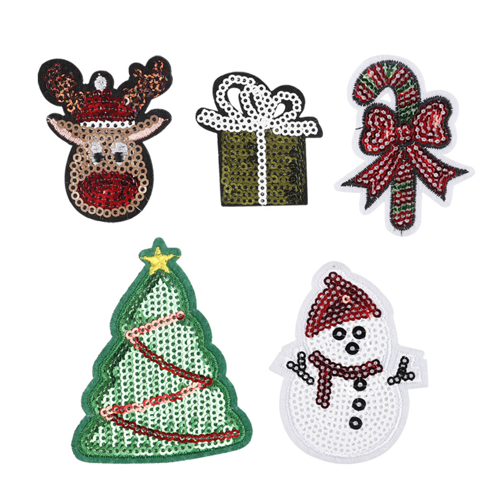 Christmas Tree Patch: 10pcs/bag Embroidered Sequin Patches Christmas Trees