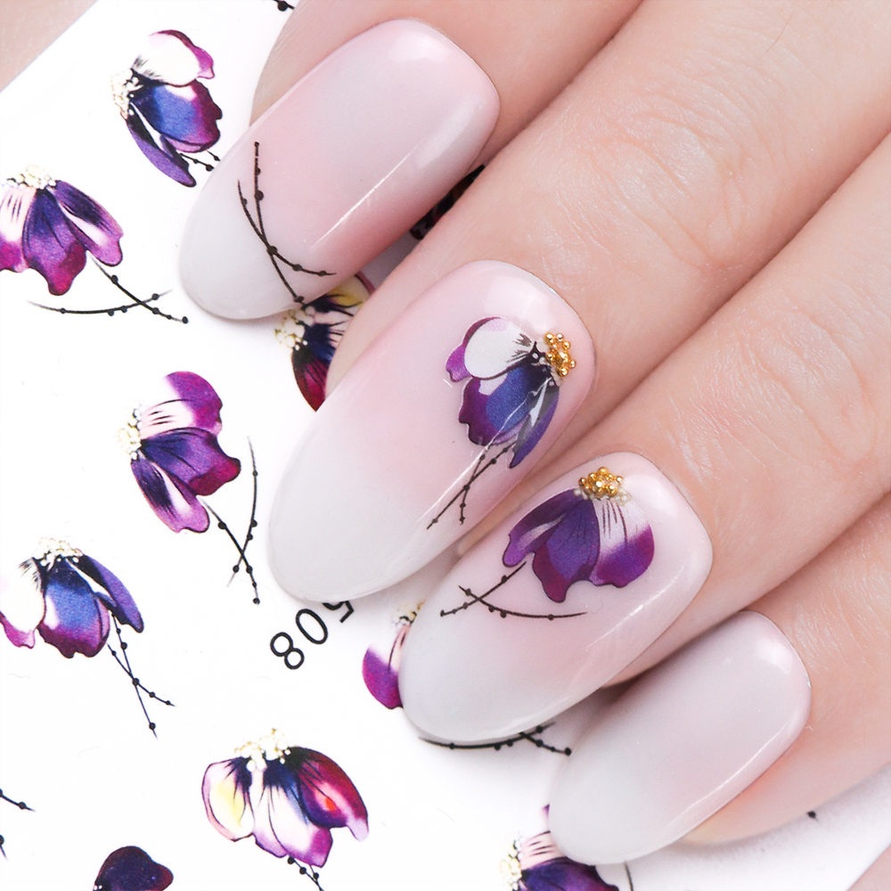 1pcs Nail Sticker Butterfly Flower Water Transfer Decal Sliders for Nail Art Decoration Tattoo Manicure Wraps Tools Tip JISTZ508 rocooart k2 water transfer nail art sticker chinese ink rose flowers christmas nail wraps sticker manicure decor decals foils