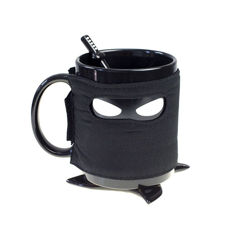 Minch Creative Ninja Mug With Coasters A Stirring Spoon Coffee Cup Removable Insulation Cup Birthday Gift