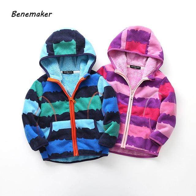 b7a7a3503 Benemaker Fleece Jackets For Boys Girls Sports Thick Children's Outdoor  Clothes Outerwear Warm Windbreaker Baby Kids Coats YJ039