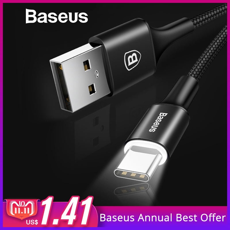 цена на Baseus USB Type C Cable For Samsung Galaxy S9 S8 Note 8 Plus Fast Charging Cable For Xiaomi Mi 5 Oneplus 6 USB Type-C Cable