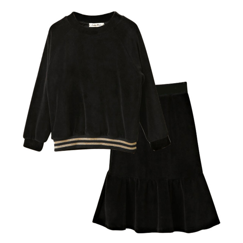 Kids & teenager big girls black velour long sleeve blouse with fishtail flare skirt 2 pieces set velvet clothes for 4-16 Years sweet stand collar long sleeve waist tied flare blouse for women