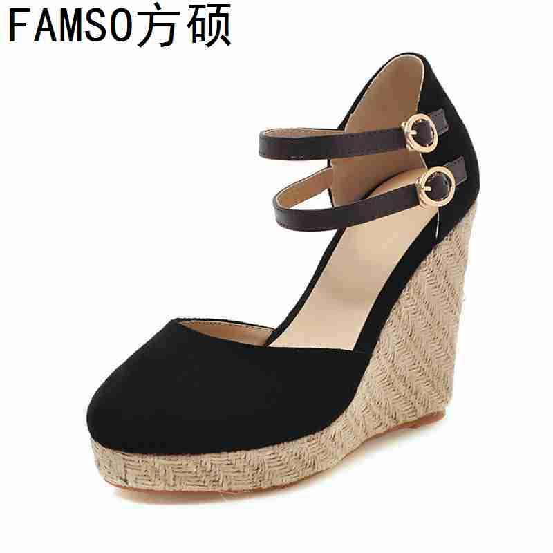FAMSO 2019 New Arrival Women Sandals Shoes Black Buckle Wedges Pumps Shoes Designer Summer Brand Shoes