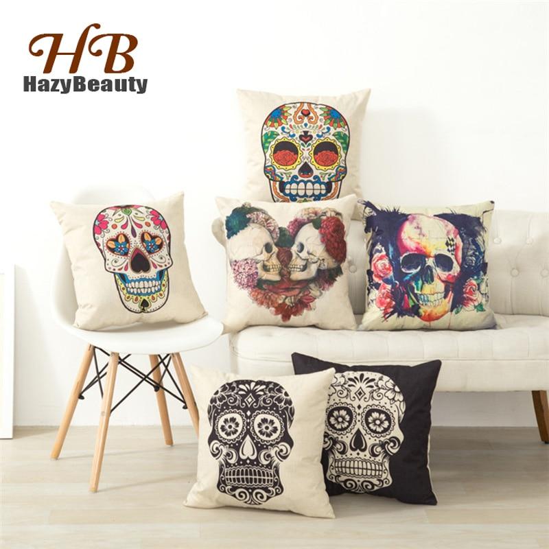 45x45cm Decorative Pillows Fashion Vintage Retro Skull Sugar Cotton Linen Throw Pillow Sofa Cover Case Home Decor(pillow Cover)