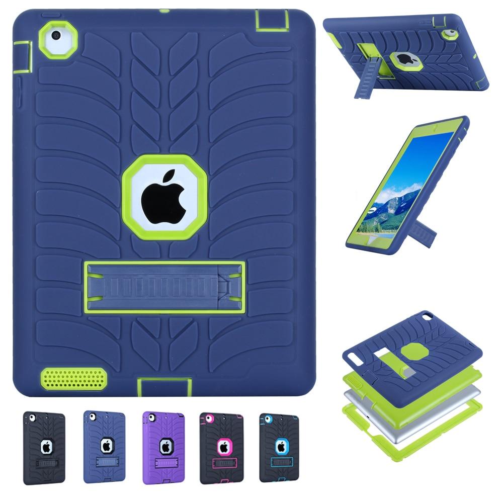 2017 yeni çocuk case ipad 2 4 3 için lastik desen hibrid standı - Tablet Aksesuarları - Fotoğraf 1
