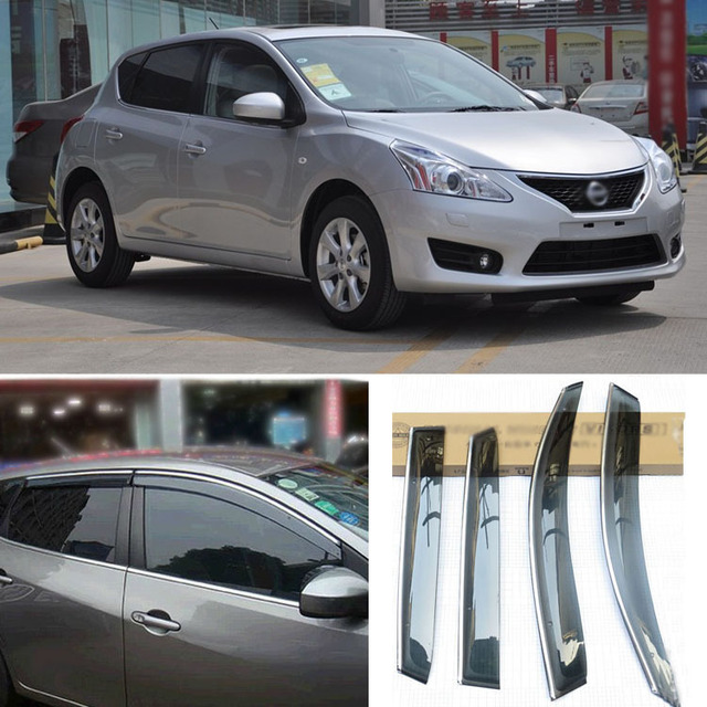 4pcs Blade Side Windows Deflectors Door Sun Visor Shield For Nissan Tiida 2011