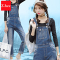 Loose Straight Straps Boyfriend Denim Overalls Womens Slim Sand Wash Jeans Overalls  Rompers Female Boyfriend Denim Overalls