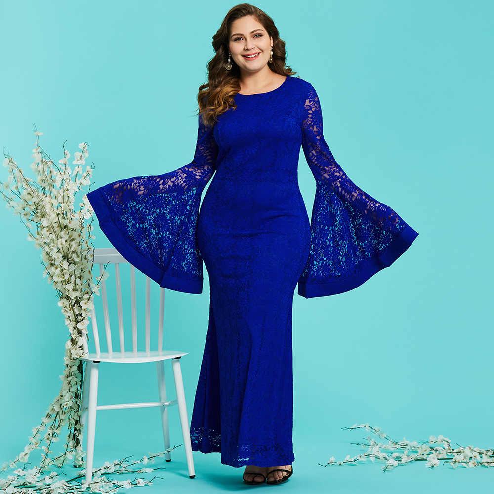 ... Dressv royal blue round neck plus size evening dress elegant mermaid long  sleeves lace wedding party ... db5b0e60cb89
