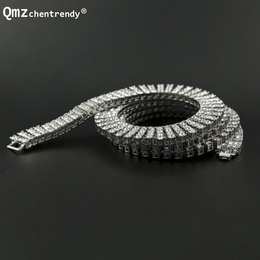 Mode Hip Hop glacé 4 quatre rangées simulé pierre Bling strass chaîne de Tennis collier femmes hommes bijoux fins