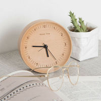 Mute Logs Original Wooden Round Alarm Clock Fashionable Table Clock Home Decor Home Decoration Creative Electronic Quiet