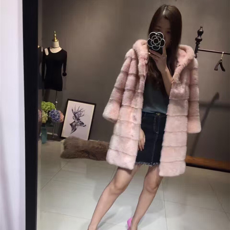 Real Mink Fur Of Coats For Women Waistcoat Natural Winter Genuine Leather Jacket With Pokets Mink Thick Fur Long Parkas Fur Coat