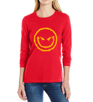 2017 Spring Summer Funny T Shirts Evil Smiley Face T Shirt Women Long Sleeve O Neck