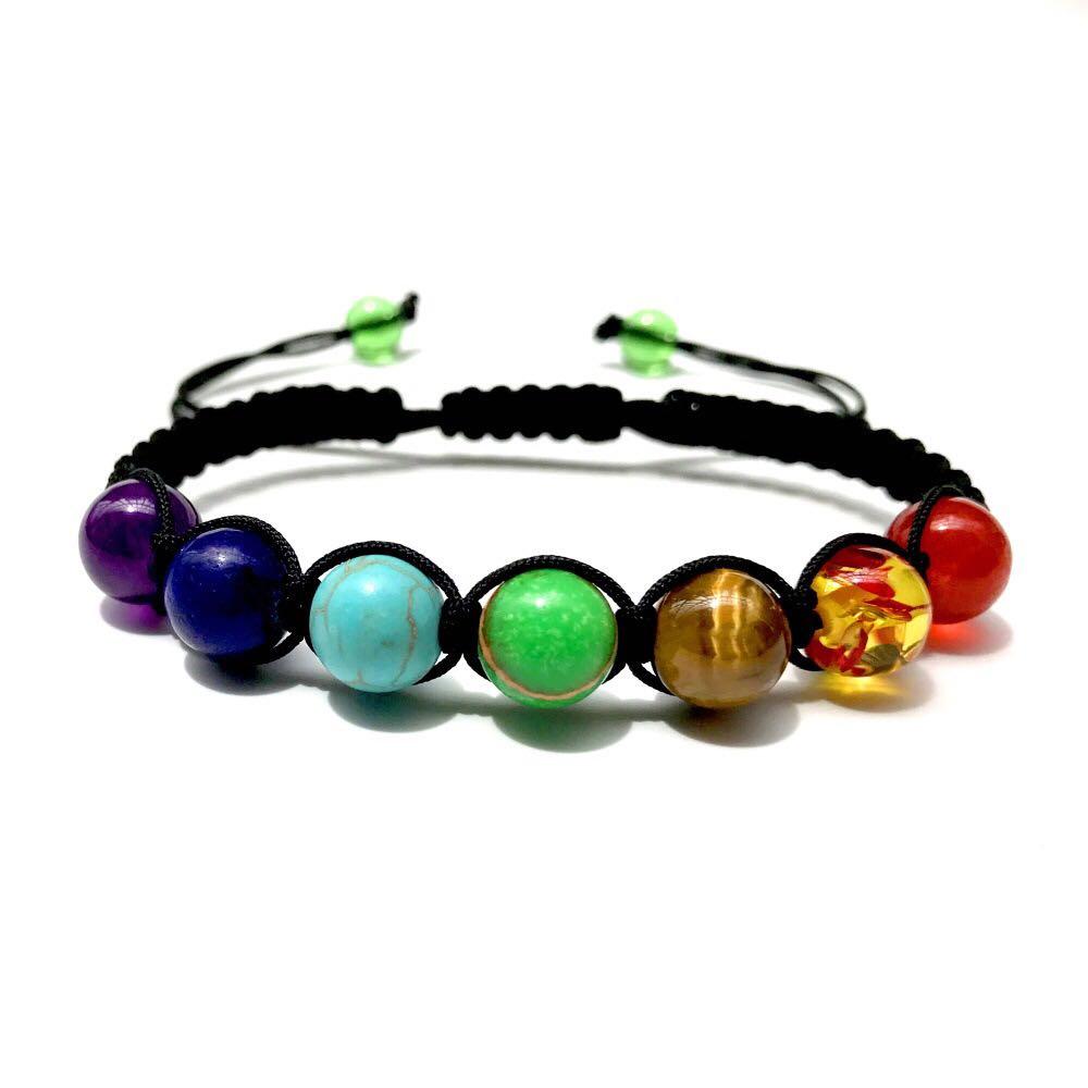 ①  8 мм семь цветов радуги камень ткачество лечение рейки молитва баланс йога 7 чакры браслет счастливы ✔