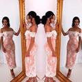 White Lace Appliques Sweetheart Off The Shoulder Tea Length Bridesmaid  Dresses Elegant Party Gowns Short