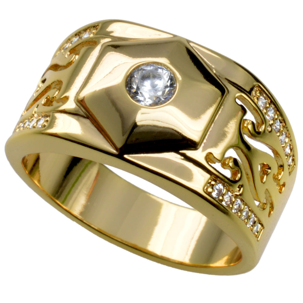 Men Gold filled wedding engagement ring band (R285) Size 8 9 10 11 12 13 14 15 ...