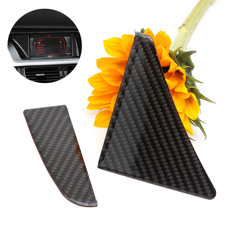 Image 1 - For Audi A4 B8 2009 2010 2011 2012 2013 2014 2015 2016 Carbon Fiber GPS Navigator Screen Frame Decor Cover Sticker Trim-in Interior Mouldings from Automobiles & Motorcycles