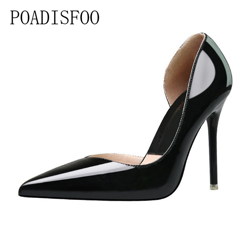 Metal Surface Shallow Mouth OL Simple High Heels Fashion Sexy Night Club Pointed Fine With Hollow Single Shoes .ZWM-3058-9 bigtree spring autumn simple sweet women pumps shallow mouth suede ol pointed hollow 10 5 cm fine high heels shoes