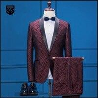 Куртка + брюки 2018 новый модный бренд Для мужчин костюмы Красный осень зима мужской костюм Свадебные Бизнес одной кнопки вечерние жениха пла