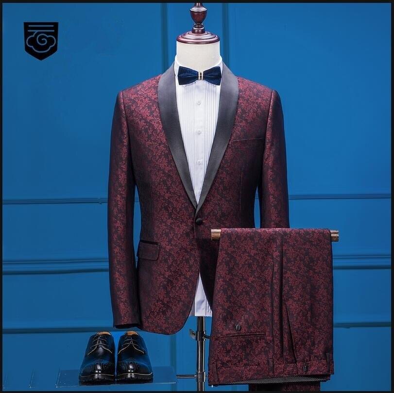 Veste + pantalon 2018 nouvelle marque de mode hommes costumes rouge automne hiver costume masculin de mariage affaires boutons simples fête marié robe de bal