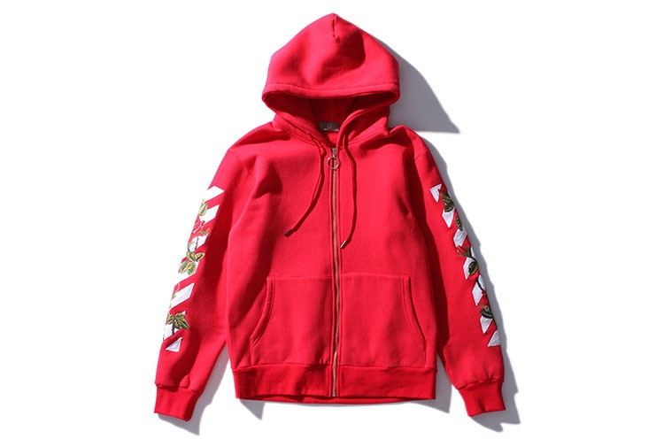 Aolamegs Men Hoodies Fashion Vintage Floral Embroidery Cardigan Jacket Hooded Zipper Outwear Off White Couples Red Black Hoodie (3)