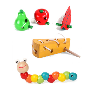 Colorful Wooden Worm Puzzles Kids Learning Educational Didactic Baby Development Toys Fingers Game for Children Montessori Toys(China)