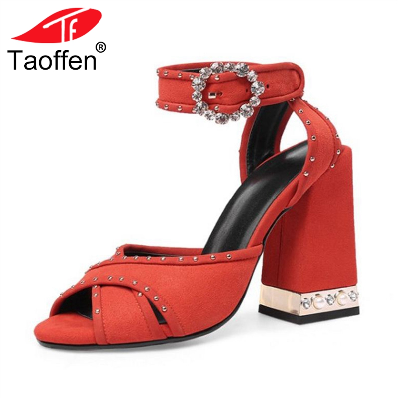 TAOFFEN Women High Heel Sandals Buckle Thick Heel Crystal Real Leather Summer Shoes Fashion Sandals Party Footwear Size 34-43 taoffen women high heels sandals real leather peep toe shoes women buckle clear thick heel sandals daily footwear size 34 39