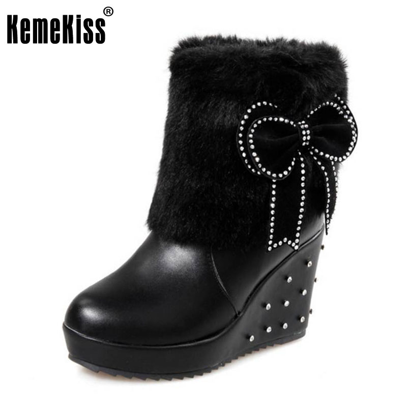 KemeKiss size 34-43 women bowtie wedge half short boots thickened fur keep warm winter mid calf snow boot footwear shoes P21336 kemekiss size 34 43 ladies height increasing mid calf boots women round toe cross tied shoes women thick fur warm snow botas