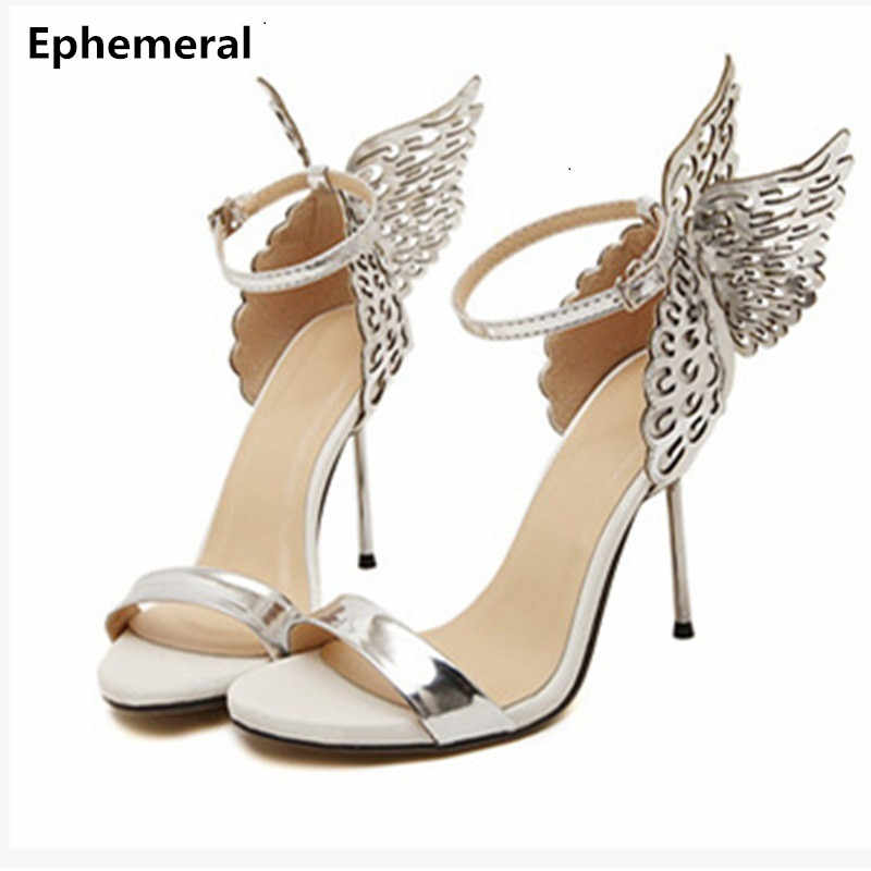 b10275fbe81e Lady Novelty Fashion Butterfly Wing Top Sold Buckle strap Round Toe Nigh  club Metal High heels