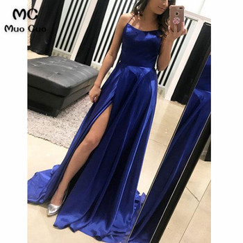 2018 A-Line Navy Blue Evening Dresses Long Spaghetti Straps Floor Length Sweep Train Front Split Formal Evening Party Dress