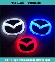 1 piece Car Sticker styling Waterproof 4D LED EL Cold light badge logo Emblem Lamp for MAZDA M6 10cmx 7.9cm